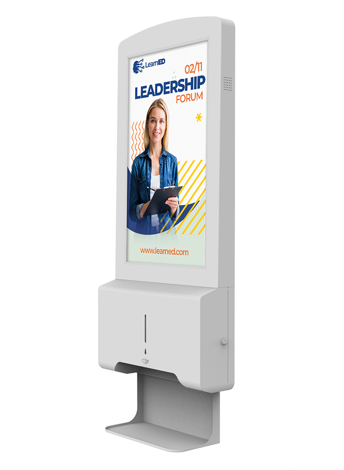 Digital Signage screen with hand sanitiser dispenser