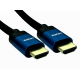 1m 8K HDMI 28awg Blue Aluminium Hood, Black Braided Cable