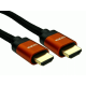 0.5m 8K HDMI 28awg Copper/Orange Aluminium Hood, Black Braided Cable