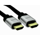 0.5m 8K HDMI 28awg Silver Aluminium Hood, Black Braided Cable