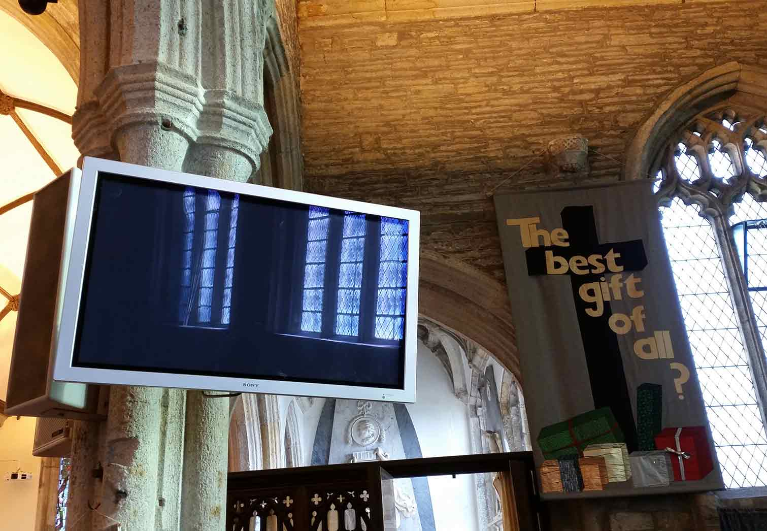 Digital display on Church pillar