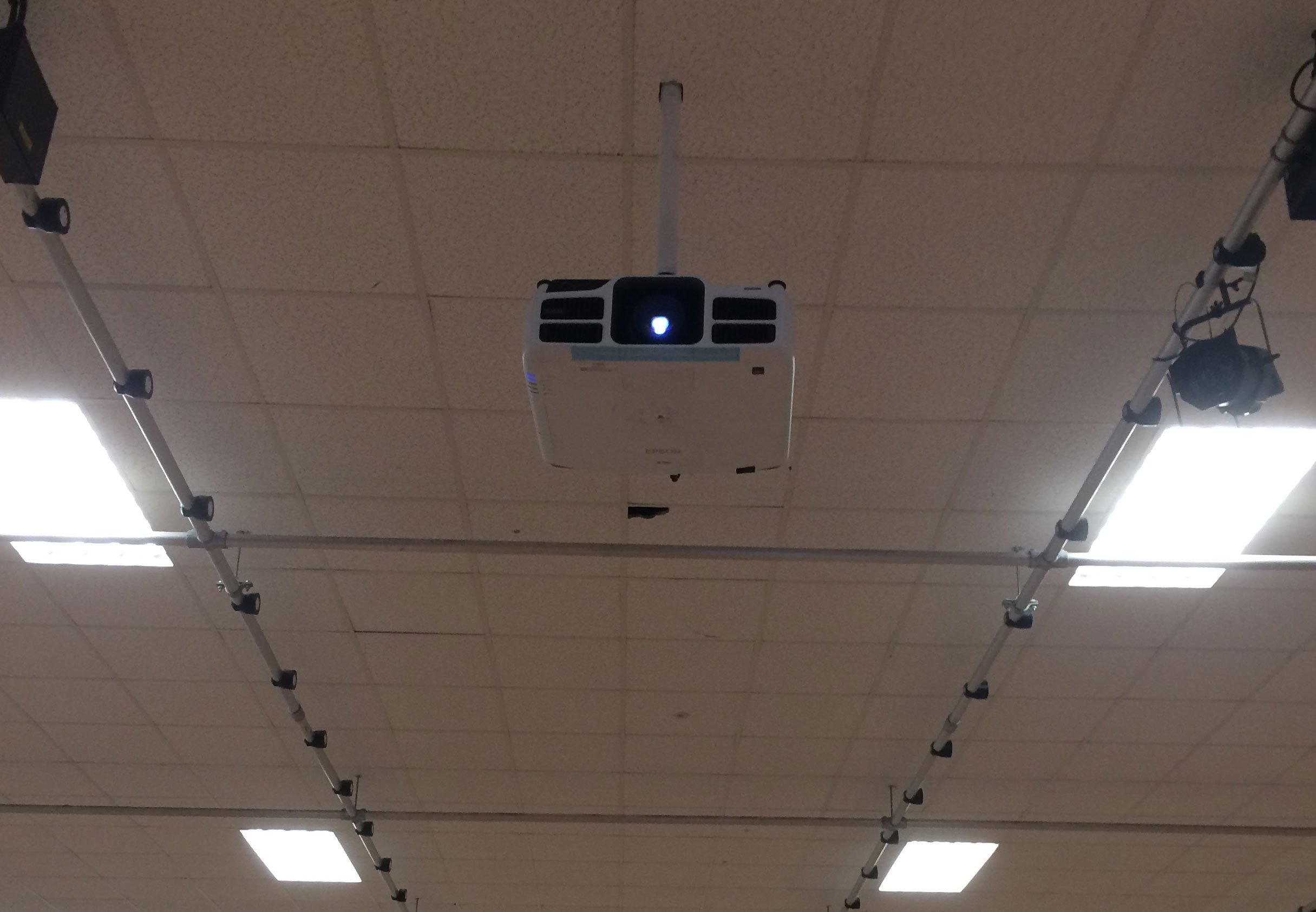 Projector in school hall installation