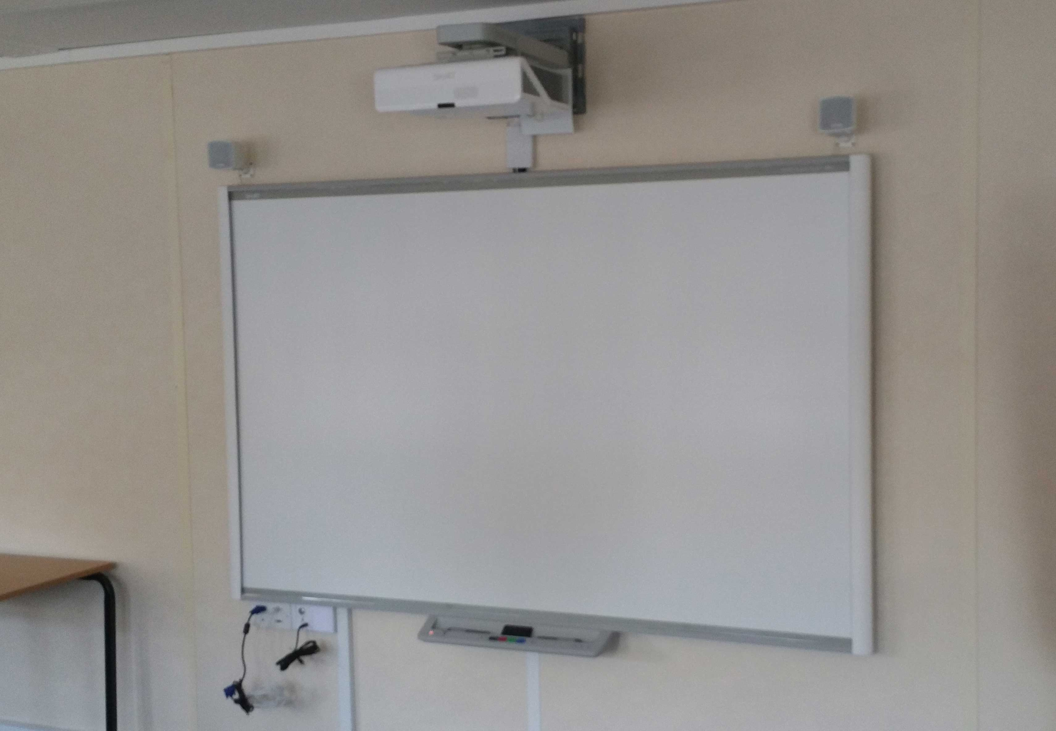 Interactive whiteboard and UST projector Installation