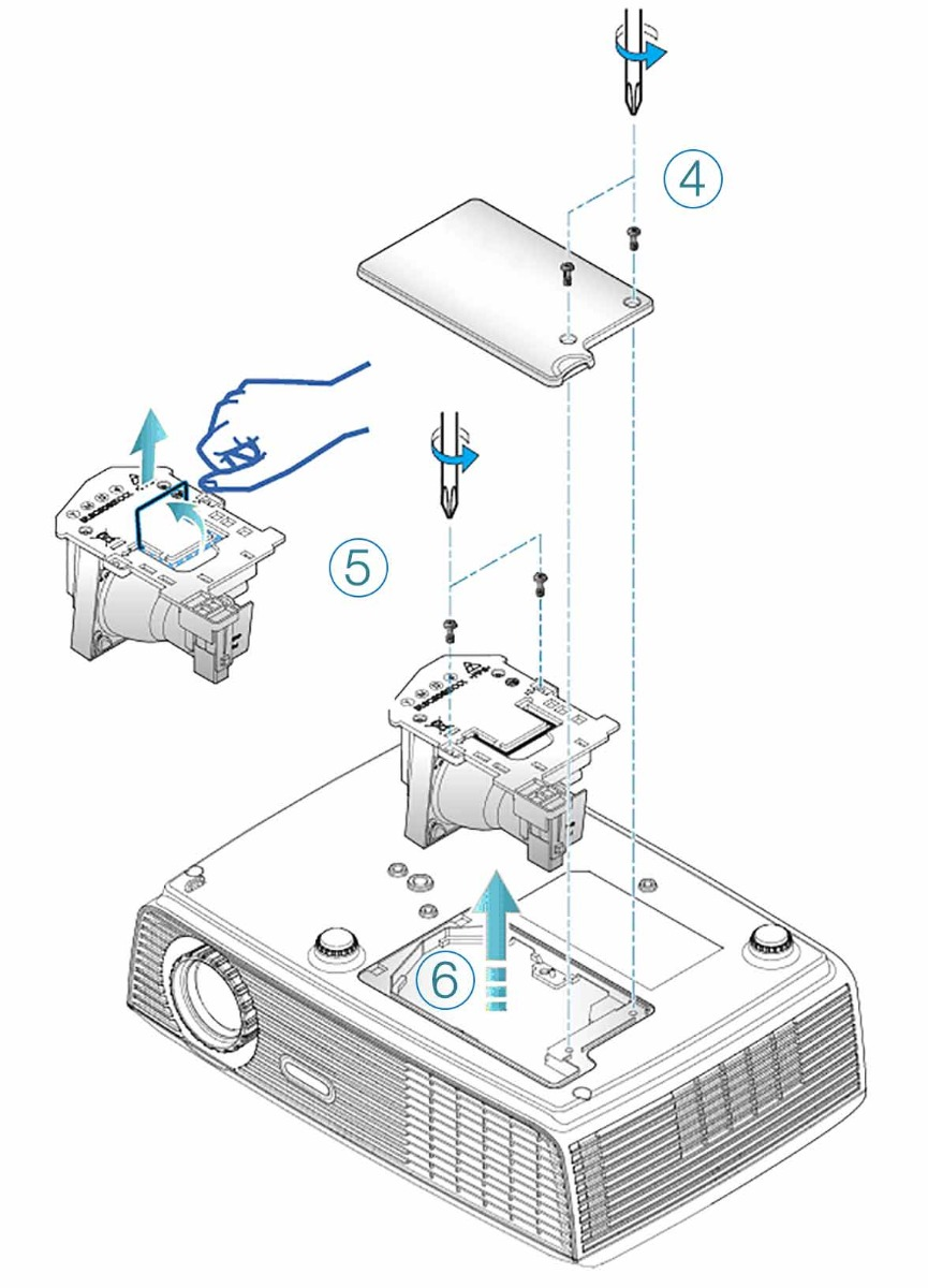 Steps on how to replace a projector lamp